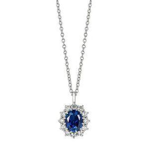 Sapphire & Diamond Necklace Pendant 3.52 Carats 14